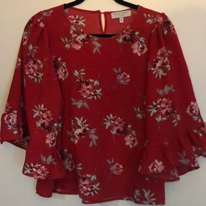 Red floral bell sleeve blouse